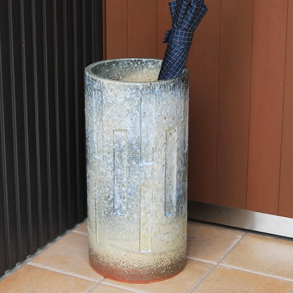 傘立て 陶器傘立て 信楽焼かさたて 和風傘立て 傘入れ 壷 しがらき カサタテ やきもの傘立て かさたて陶器 玄関 花器 花瓶 窯変傘立て [kt-0158]