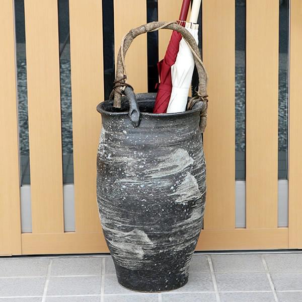 傘立て 陶器傘立て 信楽焼かさたて 和風傘立て 傘入れ 壷 しがらき カサタテ やきもの傘立て かさたて陶器 玄関 インテリア 傘立て陶器 和風 kt-0191