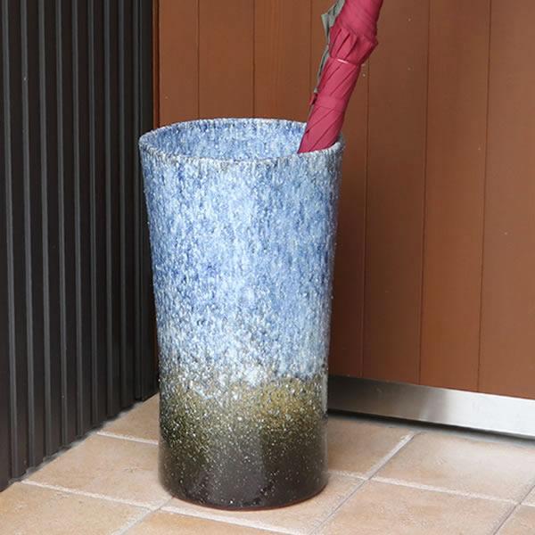 傘立て 陶器傘立て 信楽焼かさたて 和風傘立て 傘入れ 壷 しがらき カサタテ やきもの傘立て かさたて陶器 玄関 花器 花瓶 七角形傘立て [kt-0318]