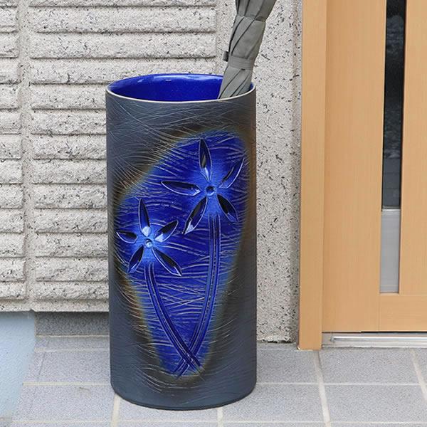 傘立て 陶器傘立て 信楽焼かさたて 和風傘立て 傘入れ 壷 しがらき カサタテ やきもの傘立て かさたて陶器 玄関 花器 花瓶 かさたて 花彫り傘立て [kt-0328]