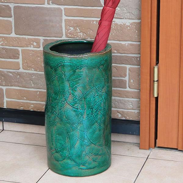 傘立て 陶器傘立て 信楽焼かさたて 和風傘立て 傘入れ 壷 しがらき カサタテ やきもの傘立て かさたて陶器 玄関 花器 花瓶 緑風傘立て [kt-0330]