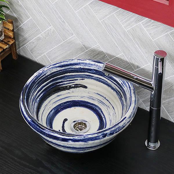 信楽焼 手水鉢 (小型) 手洗い鉢 飽きのこない洗面鉢 お洒落な洗面器 手洗器 手洗鉢 洗面ボール 洗面シンク 陶器 洗面台 手洗い鉢 洗面ボール 洗面陶器 やきもの 和風 tr-2265
