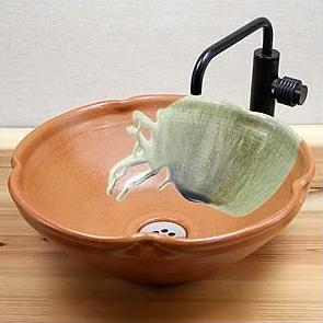 信楽焼緋色変形手洗い鉢!飽きのこない洗面鉢!お洒落な洗面器/手洗器/手洗鉢/洗面ボール/洗面シンク/陶器/洗面台/手洗い鉢/洗面ボール/洗面陶器/やきもの/和風【tr-2055】