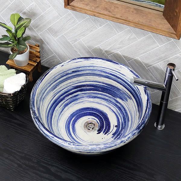手洗い鉢 陶器洗面 信楽焼 洗面ボウル 手洗器 洗面ボール 手洗鉢 陶器 洗面鉢 鉢 手洗い器 洗面シンク 洗面器 洗面台 ボール 和風 やきもの しがらき 大型 tr-4132