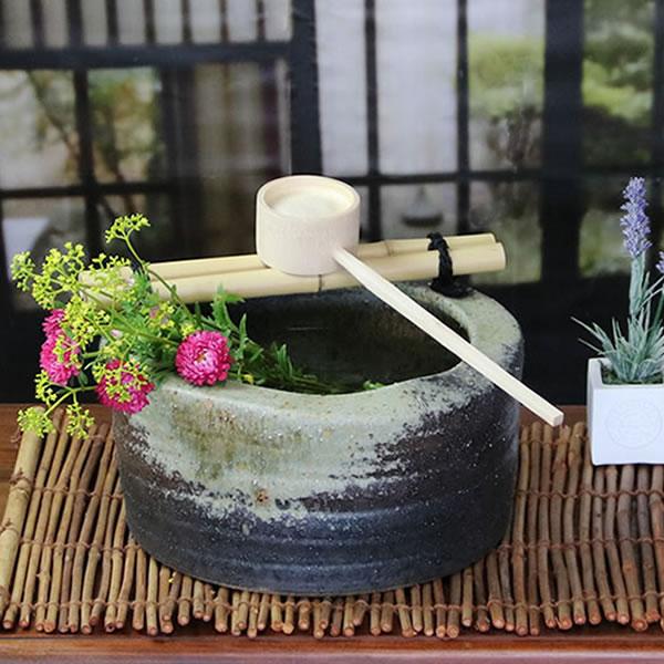 つくばい 信楽焼 竹付き鉢 陶器つくばい 金魚鉢 めだか鉢 スイレン鉢 竹付き鉢 しがらきやき 手洗い鉢 花器 花入れ [tu-0011]10P06Aug16