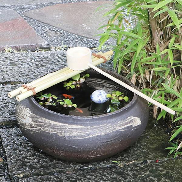 信楽焼 つくばい 竹付き陶器つくばい 和風のツクバイ鉢 陶器スイレン鉢 竹付き睡蓮鉢 和風鉢 メダカ鉢 金魚鉢 蹲 tu-0017