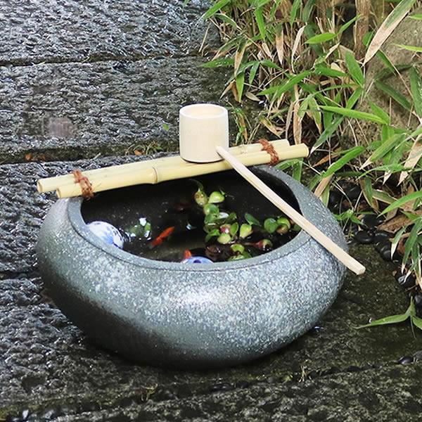 信楽焼 つくばい 竹付き陶器つくばい 和風のツクバイ鉢 陶器スイレン鉢 竹付き睡蓮鉢 和風鉢 メダカ鉢 金魚鉢 tu-0018
