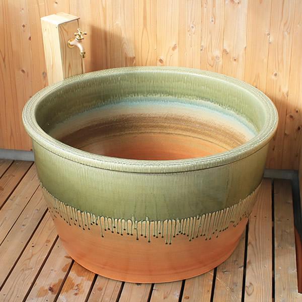 丸型 直径950 × 高さ580mm 信楽焼浴槽ロクロ成型 陶器浴槽 陶器風呂 つぼ湯 つぼ風呂 風呂釜 風呂桶 しがらきやき やきもの バスタブ 釜風呂 信楽焼ふろ 露天 温泉 yr-950