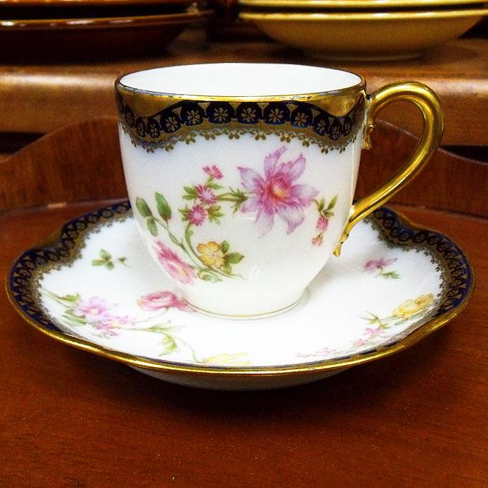 ◆アンティーク食器・陶磁器 リモージュ・アビランド(Limoges,Haviland) デミタスカップ・コーヒーカップ/カップ&ソーサー 1910-1931年頃◆
