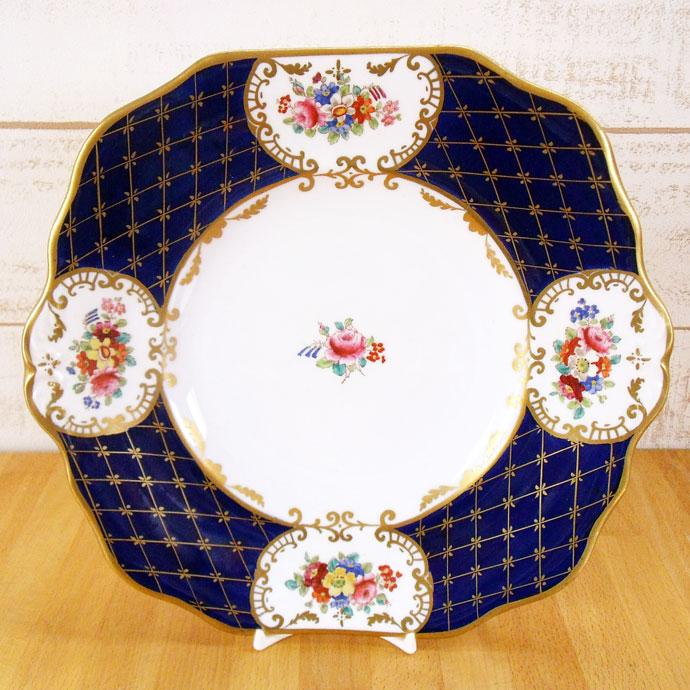 アンティーク プレート メーカー不明 1900年前後 藍色 金彩 花柄 ヴィンテージ 食器 陶磁器 キッチン雑貨 テーブルウェア 大皿