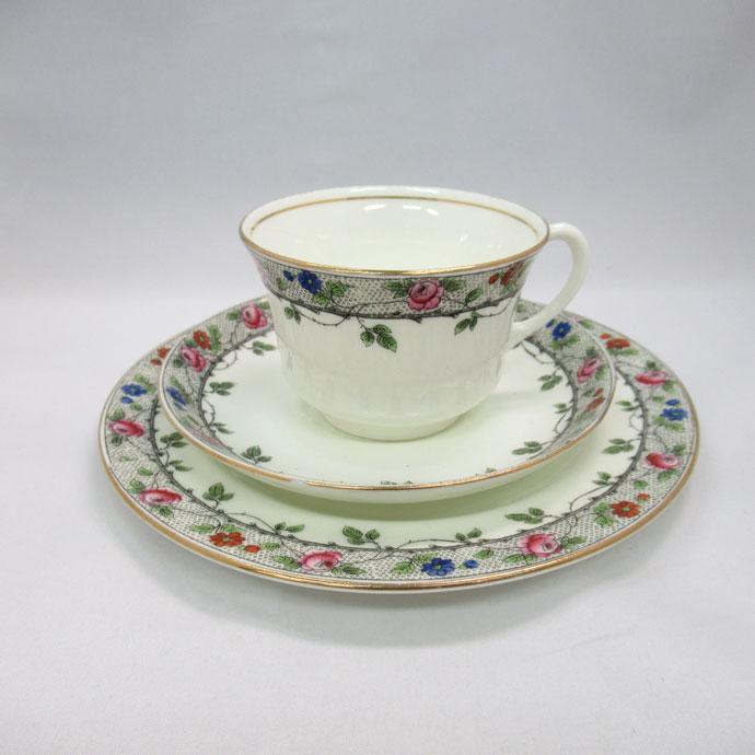 アンティーク トリオ カップ&ソーサー aynsley エインズレイ 1905年頃 ヴィンテージ 食器 陶磁器 キッチン雑貨 テーブルウェア ティ―セット 茶器