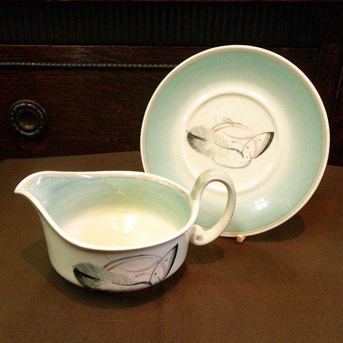 ◆アンティーク食器・スージークーパー グレイリーフ ソースボート&ソーサー/1936年頃◆