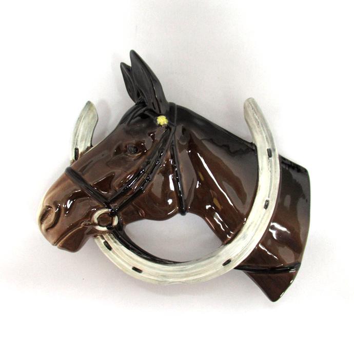 アンティーク ウェルカムプレート Beswick ベズウィック 馬と蹄鉄 1930-50年頃 イギリス製 ヴィンテージ インテリア 玄関 壁掛け 馬蹄 ホースシュー 動物 ラッキー 幸運 オーナメント