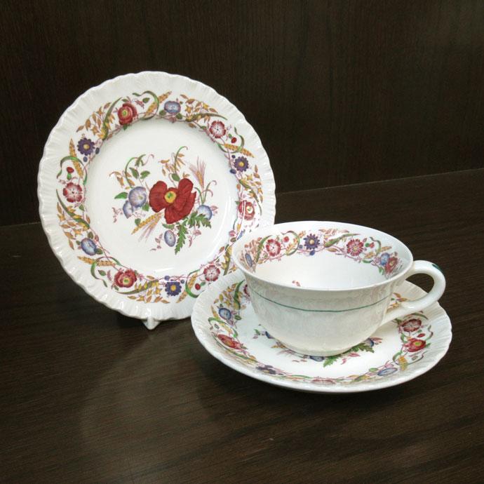 アンティーク トリオ ティーカップ&ソーサー wedgwood ウェッジウッド cornflower 1940-1950年頃 ヴィンテージ 食器 陶磁器 キッチン雑貨 テーブルウェア ティ―セット 茶器