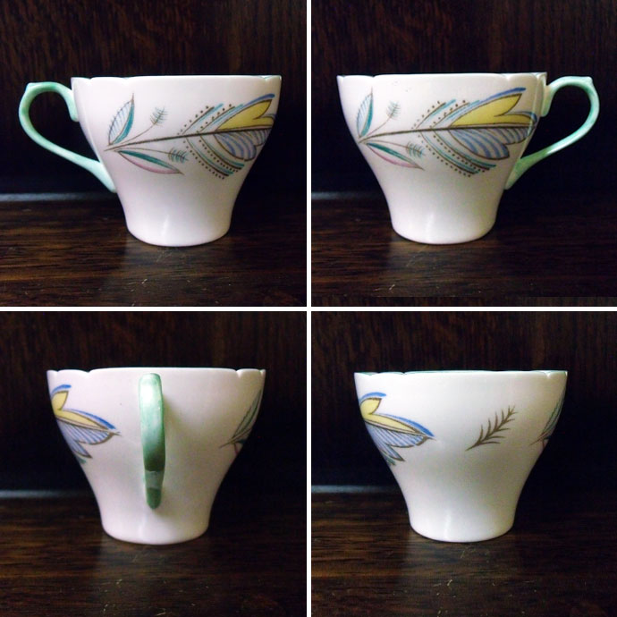 Antique teacup & saucer shelley sherry pastel Leaf 1940-1966 age new  Cambridge shape vintage tableware ceramics kitchen miscellaneous goods
