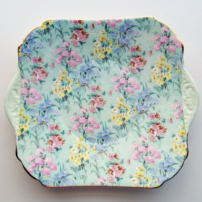ヴィンテージ 食器 陶磁器 キッチン雑貨 テーブルウェア 大皿 ボタニカル フラワー Melody 送料無料 アンティーク プレート シェリー Shelley メロディー イギリス 1940-1966年頃
