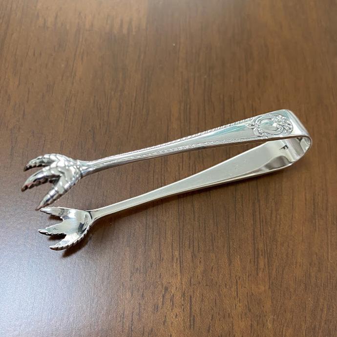 アンティーク カトラリー トング 925シルバー 1896年頃 イギリス ヴィンテージ キッチン雑貨 テーブルウェア 銀器 動物モチーフ
