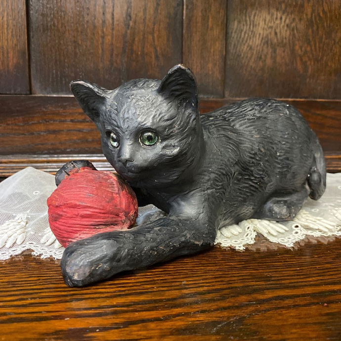 アンティーク 黒猫 グラスアイ 置物 Bretby Art Pottery イギリス 1890年頃 ヴィンテージ フィギュア インテリア 雑貨 テラコッタ 動物