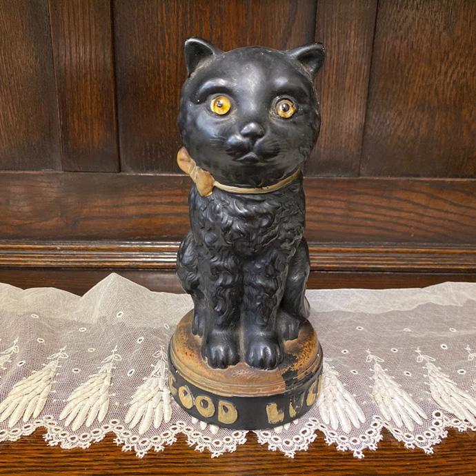 アンティーク Good Luck Cat 黒猫 グラスアイ 置物 イギリス ヴィンテージ フィギュア インテリア 雑貨 陶磁器 動物