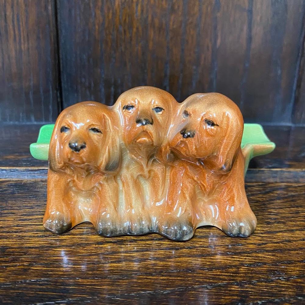 ヴィンテージ アシュトレイ 灰皿 スパニエルドッグ 仔犬 Beswick ベズウィック イギリス 1948-1954年頃 アンティーク 置物 インテリア 雑貨 フィギュア 陶磁器 動物
