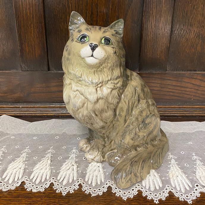 アンティーク ペルシャ猫 置物 Beswick ベズウィック イギリス 1954-1971年頃 ヴィンテージ フィギュア インテリア 雑貨 陶磁器 動物