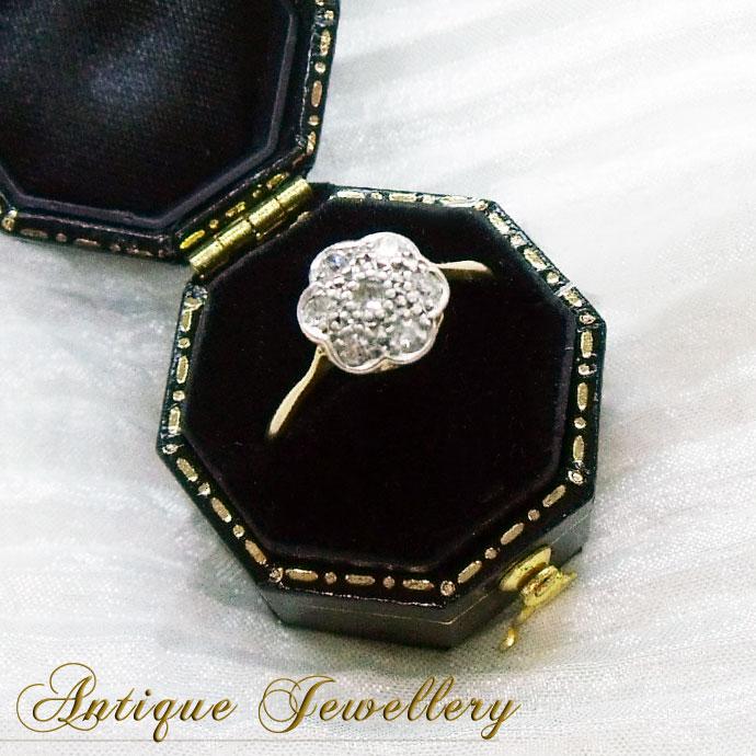 ◆アンティークジュエリー エドワーディアン様式・ダイヤモンド&プラチナ・ゴールドクラスターリング