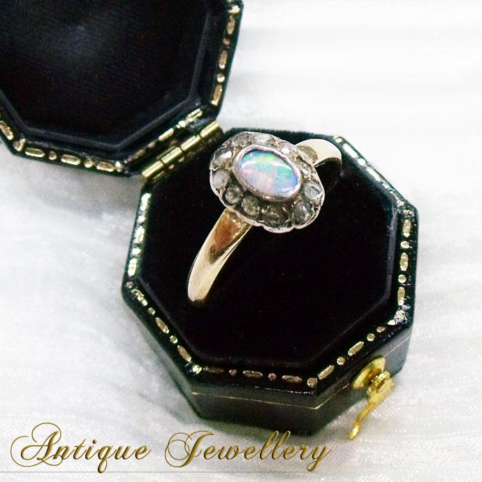 ◆アンティークジュエリー オパール&ローズカットダイヤモンド・クラスターゴールドリング