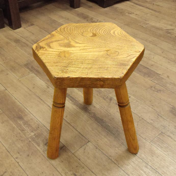 ◆アンティーク家具・雑貨◆スツール 木製・エルム 無垢材 チェア/いす/六角