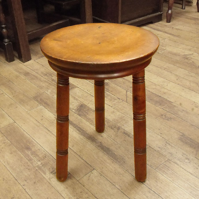ヴィンテージ 家具 椅子 インテリア雑貨 木製 チェア アンティーク 円形スツール ソリッドスタンド