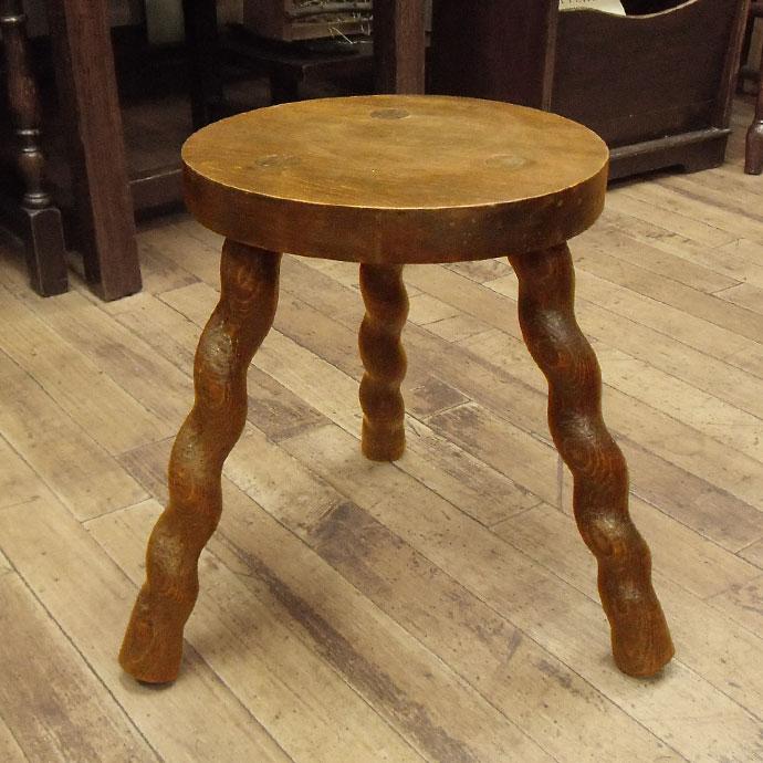 ◆アンティーク家具・雑貨◆ロースツール 木製・オールドパイン チェア/いす/円形