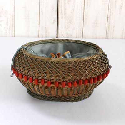 アンティーク雑貨巾着型ハンドバスケット //Basket キャリー・バッグ・籠