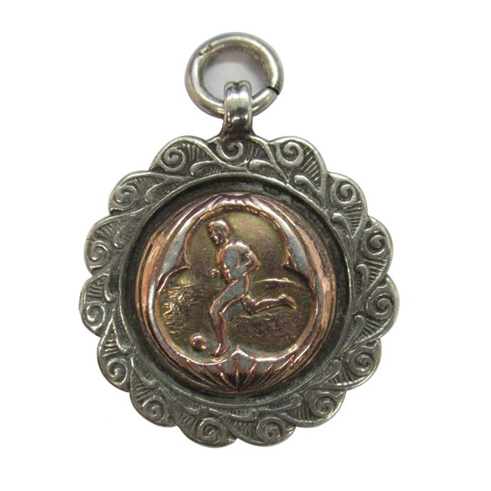 アンティーク シルバー フォブメダル イギリス バーミンガム 1928年頃 サッカー ヴィンテージ アクセサリー ジュエリー ペンダントトップ 銀 925 ゴールドプレート 雑貨
