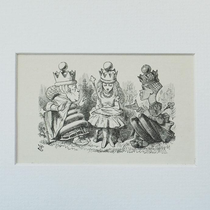 アンティーク 額絵 インテリア 額縁 フレーム イギリス 絵本 ルイス キャロル Alice in the wonderland  不思議の国のアリス 鏡の国のアリス 白の女王 赤の女王