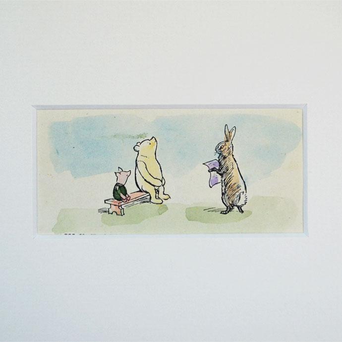 アンティーク 額絵 インテリア 額縁 フレーム イギリス 絵本 挿絵 E.H.シェパード A.A.ミルン Winnie the Pooh  クマのプ―さん ピグレット ラビット ハンドカラー