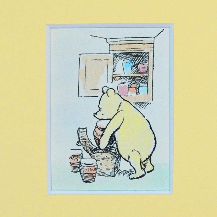アンティーク 額絵 インテリア 額縁 フレーム イギリス 絵本 挿絵 E.H.シェパード A.A.ミルン The House at Pooh Corner 送料無料 クマのプ―さん ハンドカラー