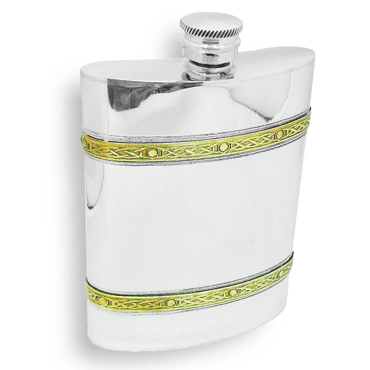 スキットル ウイスキーボトル ピューター(錫) 約180ml 約6ozケルト模様 ブラスバンドウィスキー スコッチ 蒸留酒向け 携帯用水筒 専用箱入り ギフト 贈り物英国製 AEW社