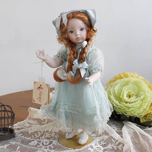 マリジオ◆マリア・ロッシ作陶製ビスクドール少女・ブルー