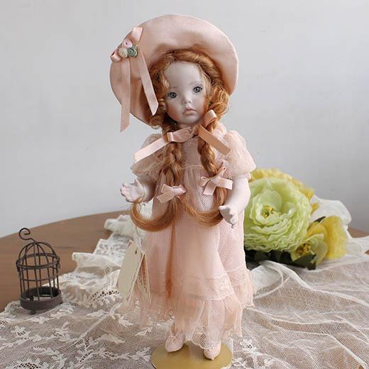 マリジオ◆マリア・ロッシ作陶製ビスクドール少女・ピンク