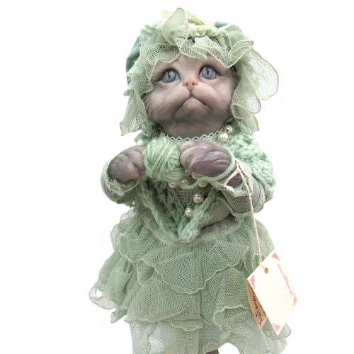 Marigio マリジオ 陶製 ビスクドール 猫 グリーン イタリア マリア・ロッシ 作