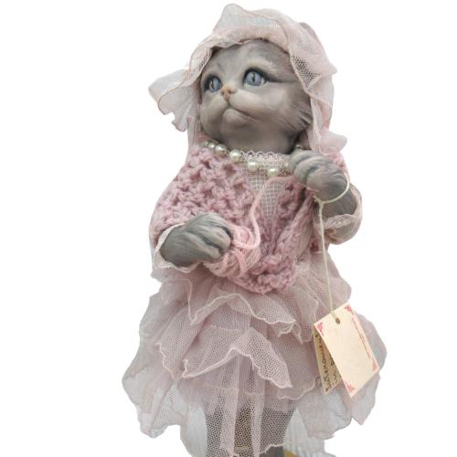 Marigio マリジオ 陶製 ビスクドール 猫 ピンク イタリア マリア・ロッシ 作