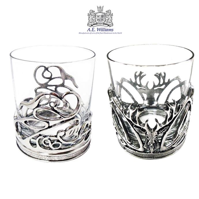 ロックグラス 250ml ピューター 英国製 AEW社 スワール スタッグ アルコール お酒 大人 かっこいい ギフト プレゼント 贈り物 ウィスキー
