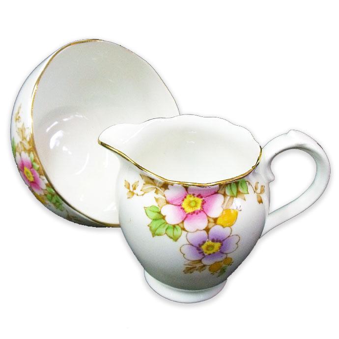 ◆アンティーク食器 ロズリン(Roslyn) ミルクジャグ&シュガーボウル/紫とピンク色の花・黄色の実