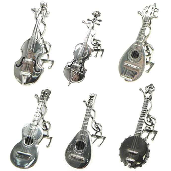 インテリア 雑貨 置物 オブジェ シルバー 楽器 ミニチュア オーケストラ バイオリン チェロ マンドリン ギター バラライカ バンジョー イタリア キメラ・オロ社