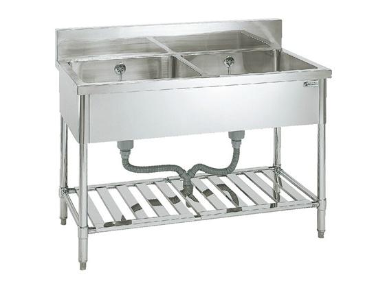 [陶芸 機器] ステンレスシンク 2槽W1500×D600