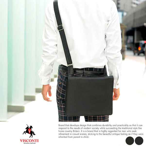 【 ポイント2倍 】 VISCONTI 本革フラップショルダーバッグ HARVARD M 男性用 メンズ ショルダーバッグ 斜めがけ 革 本革 オイルレザー B5 トラッド クラシック 鞄 かばん バッグ