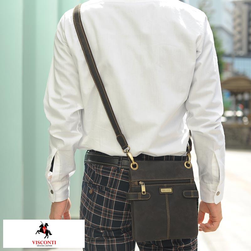 VISCONTI 縦形スリムショルダーバッグ NEO [S] ブラウン 18511S /男性用/メンズ/ミニショルダーバッグ/縦型/iPad/mini/革/本革/レザー/鞄/かばん/レザーバッグ/オイルレザー/薄マチ/