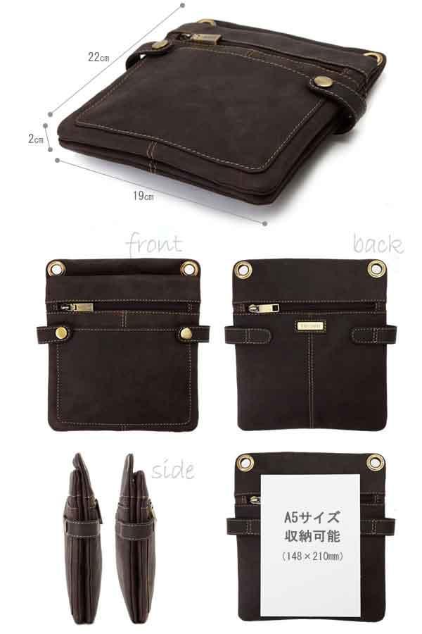 维斯康蒂立式苗条肩袋新 [S] 棕色 18511S / 男人的 / 迷你肩包垂直 /iPad 迷你皮革皮革皮具、 包袋、 皮革包油皮革、 薄扣 / /