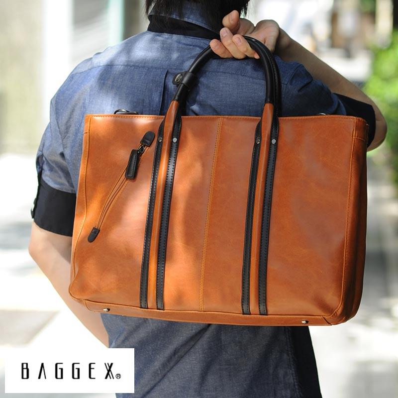 【 ポイント2倍 】 BAGGEX ビジネスバッグ メンズ 3層 VINTAGE ブリーフケース 通勤 B4 カジュアル 2way 肩掛け ショルダー 男性 大人 合皮 おしゃれ かっこいい ビジネストート 鞄 かばん バッグ 【送料無料】