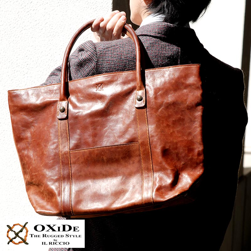 Oxide Tote Bag Men S Zipper A4 Horizontal Leather Horse Satchel And A Italy Made Bags
