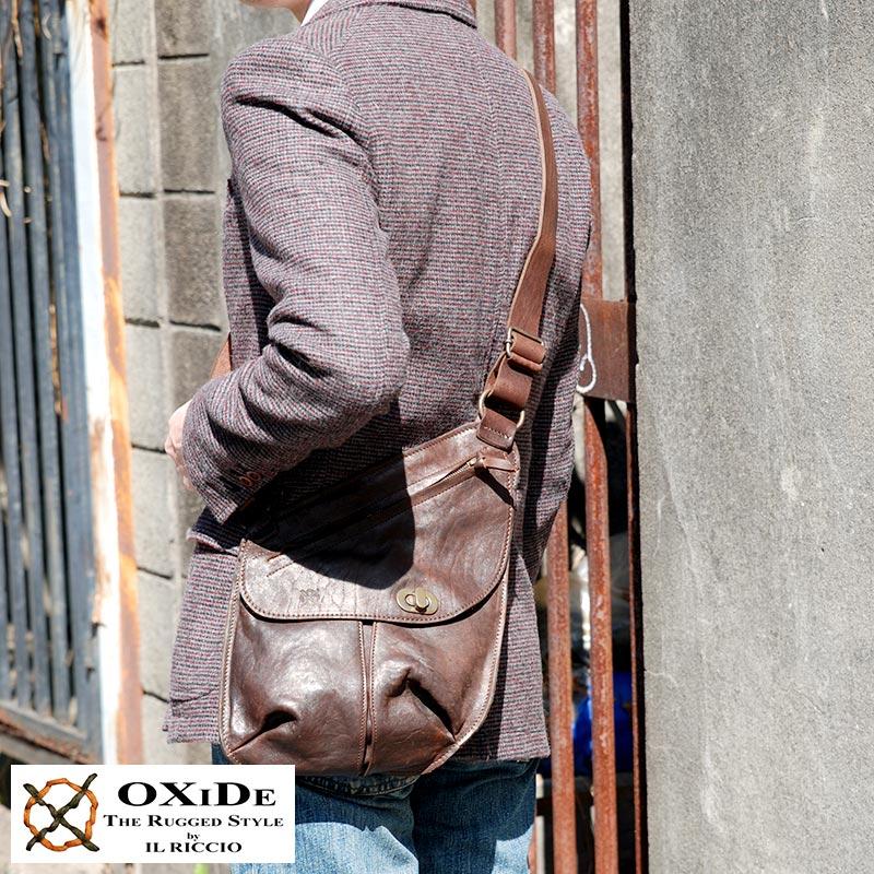 OXiDe アンティークショルダーバッグ /男性用/メンズ/斜めがけバッグ/レザーバッグ/A5/iPad/mini/革/本革/馬革/鞄/かばん/バッグ/ホースレザー/イタリア製/ヴィンテージ/ 【あす楽対応】